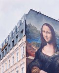 Mural of mona lisa on berlin hotel