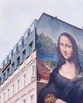 Mural of mona lisa on berlin hotel